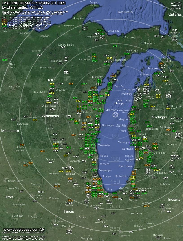 Lake Michigan Inversion Map - by Chris Kadlec