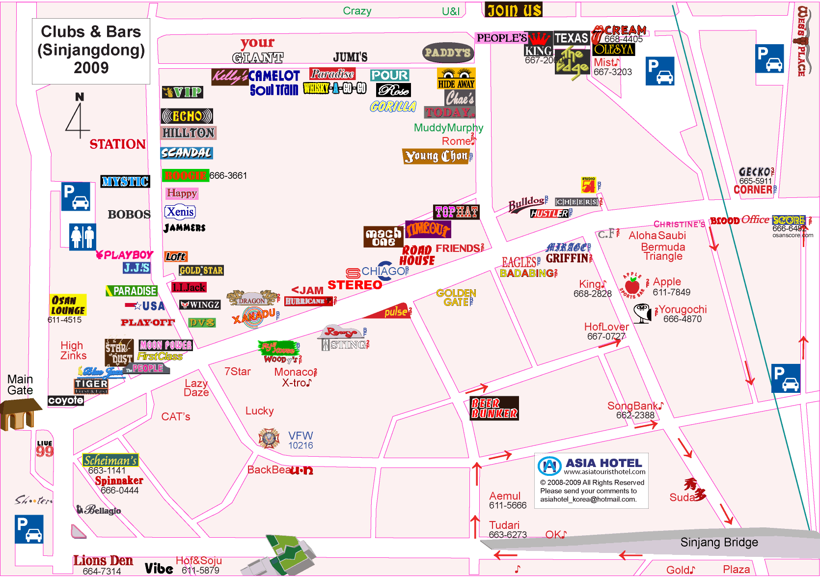 A Foreigners Guide To Songtan Korea Maps - Map of bars in us